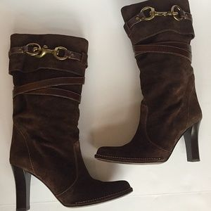 Coach Reiann Chocolate Brown Suede Boots Sz8